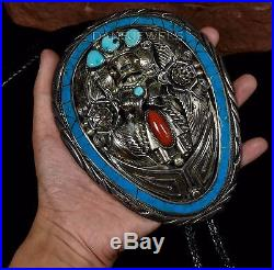 Old Pawn Vintage Navajo TURQUOISE HUGE GOMEZ Signed Sterling KACHINA BOLO TIE