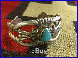 Old Pawn Vintage Sandcast Navajo Sterling Turquoise Bracelet Cuff Great Design