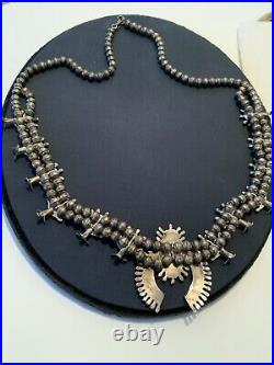 Old Pawn Vintage Zuni Sterling Needle Point Turquoise Squash Blossom Necklace