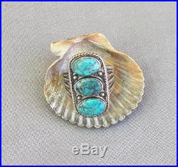 Old Vintage Fred Harvey Era Silver Stamped 3 Stone Turquoise Ring Size 7 1/4