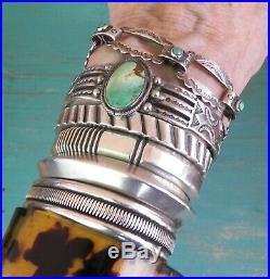 Old Vintage Fred Harvey Era Stamped Silver Green Turquoise Cuff Bracelet
