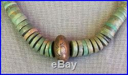 Old Vintage Graduated Green Turquoise Heishi Necklace w Big Brass Stamped Bead