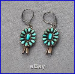Old Vintage Harvey Era Silver Turquoise Cluster Squash Drop Dangle Earrings