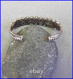 Old Vintage Heavy Native American Silver Stamped Turquoise Row Cuff Bracelet
