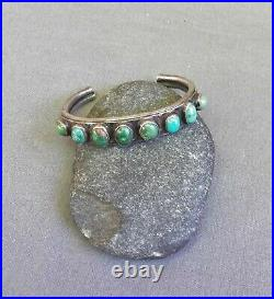 Old Vintage Native American Silver Green Turquoise Row Cuff Bracelet Small Wrist
