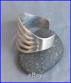 Old Vintage Native American Silver Wide 5 Rail Split Cuff Bracelet