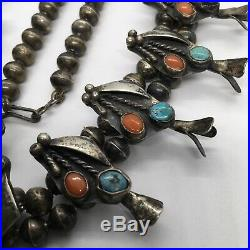 Old Vintage Native American Turquoise & Coral Petite Squash Blossom Necklace