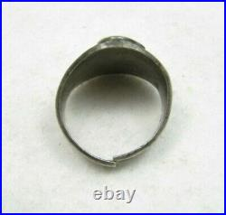 Old Vintage Navajo Fred Harvey Era Stamped Thunderbird Biker Sterling Ring Sz 7