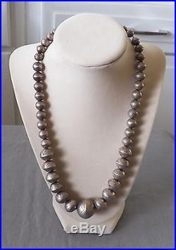 Old Vintage Navajo Silver Pearls Hand Stamped with Wonderful Patina