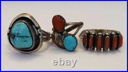 Older Vintage Native American Sterling Silver Turquoise and Coral Ring Lot