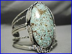 One Of The Best Vintage Navajo #8 Turquoise Sterling Silver Bracelet Old