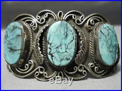 One Of The Best Vintage Navajo Blue Diamond Turquoise Sterling Silver Bracelet