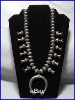 One Of The Best Vintage Navajo Coin Sterling Silver Squash Blossom Necklace