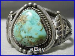 Opulent Vintage Navajo Natural Royston Turquoise Sterling Silver Bracelet Old