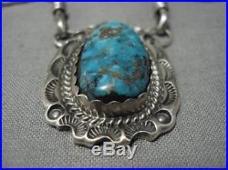 Opulent Vintage Navajo Turquoise Sterling Silver Necklace Old