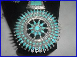 P. M. Begay Vtg Sterling Silver Petit Point Turquoise Squash Blossom Necklace