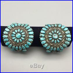 Pair of Vintage Turquoise & Sterling Cluster Bracelets Matching Set