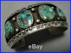 Quality Vintage Navajo Green Turquoise Sterling Silver Bracelet Old