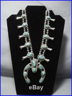 Quality! Vintage Navajo Green Turquoise Sterling Silver Squash Blossom Necklace