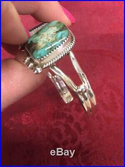 Quality Vintage Navajo Large Turquoise Sterling Silver Native American Bracelet