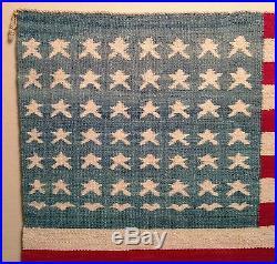 RARE VINTAGE 1930s Native American Navajo 48 Star Flag Blanket Museum Quality