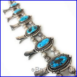 RARE! Vintage 1960's Sterling Silver & Bisbee Turquoise Squash Blossom Necklace