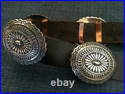 RARE Vtg NAVAJO WILLIE SHAW Signed STERLING SILVER CONCHO BELT Museum Quality