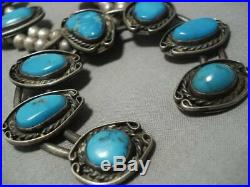 Rare Bisbee Turquoise Vintage Navajo Sterling Silver Squash Blossom Necklace