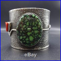 Rare EDISON CUMMINGS Vintage NAVAJO Sterling Silver & TURQUOISE Cuff BRACELET