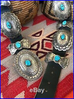 Rare Great! Navajo Southwestern Vintage Sterling Silver & Turquoise Concho Belt