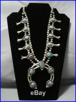 Rare Turquoise! Vintage Navajo Sterling Silver Squash Blossom Necklace Old