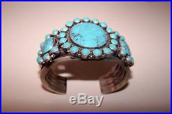 Rare Vintage Kirk Smith Turquoise Cluster Navajo Cuff Sterling Silver Bracelet