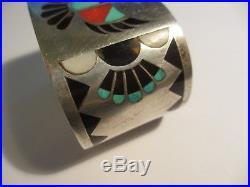 Rare Vintage Lolita Natachu Zuni Sterling Thunderbird Inlaid Stone Cuff Bracelet