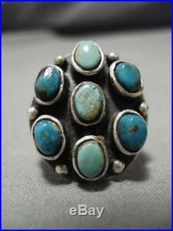 Rare! Vintage Navajo Blue Gem Turquoise Sterling Silver Native American Ring