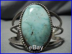 Rare Vintage Navajo Carico Lake Turquoise Sterling Silver Bracelet Old