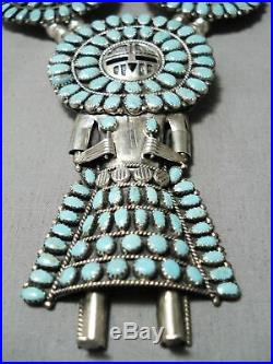 Rare Vintage Navajo Kachina Turquoise Sterling Silver Squash Blossom Necklace