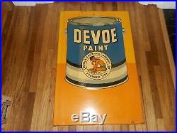 Rare Vintage Original STOUT DEVOE PAINTS NATIVE AMERICAN INDIAN Advertising SIGN