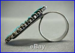 Rare Vintage Zuni Native American Sterling Silver Turquoise Cluster Ring UNIQUE
