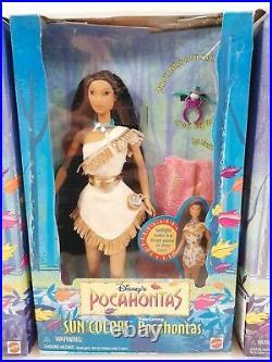 Rare Vtg 1995 Disney's POCAHONTAS SUN COLORS KOCOUM & NAKOMA Set of 3 Dolls NIB