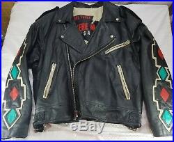 Rare Vtg MICHAEL HOBAN Native American WHEREMI Leather Jacket Size S Eagle Back