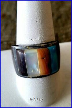 Ring Jewelry Lot of 8 Sterling Vintage Retro Navjo Turquoise Southwest Style
