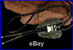 Rustic Old Pawn Vintage NAVAJO Big Slab Turquoise & Sterling Bolo Tie