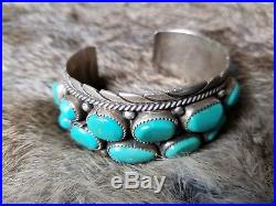 SALE $50 OFF Vintage OLD PAWN Sterling Silver NAVAJO TURQUOISE Cuff BRACELET