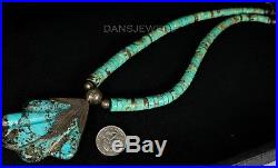 SANTO DOMINGO Vintage Navajo Carved Rolled TURQUOISE Sterling Clasp Necklace