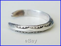 SIGNED AS Native American Navajo STAMPED Sterling Silver Cuff Bracelet VTG