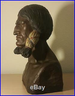 SITTING BULL cigar store indian statue vtg native american tobacco totem humidor