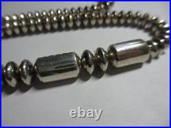 SPECTACULAR 26 VTG RT Navajo Sterling Silver SAUCER/TUBE BEAD Necklace-XFINE