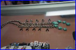 SQUASH BLOSSOM NECKLACE Navajo Green Turquoise Sterling Silver necklace vintage
