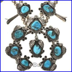 SQUASH BLOSSOM NECKLACE Sleeping Beauty Turquoise Vintage Navajo Old Pawn c1970s