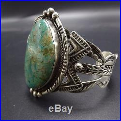 Signed Vintage NAVAJO Hand-Stamped Sterling Silver & TURQUOISE Cuff BRACELET